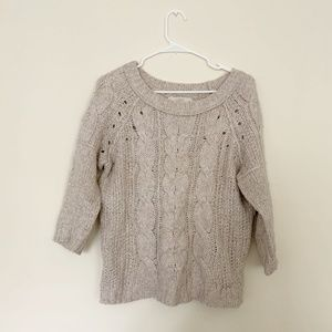 LOFT Cable Knit Wool Blend Sweater
